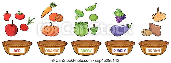 Different colors of fruits and vegetables - csp45296142