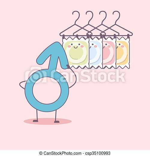 different condom packages cartoon - csp35100993