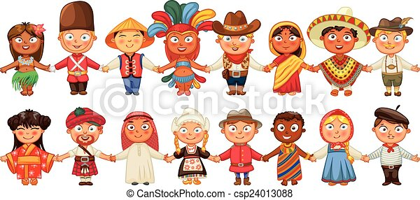 Different culture standing together - csp24013088