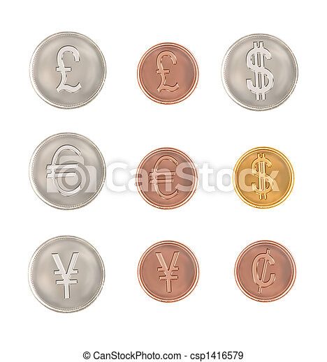 Different Currency Symbol Coins Currencies From Around The World