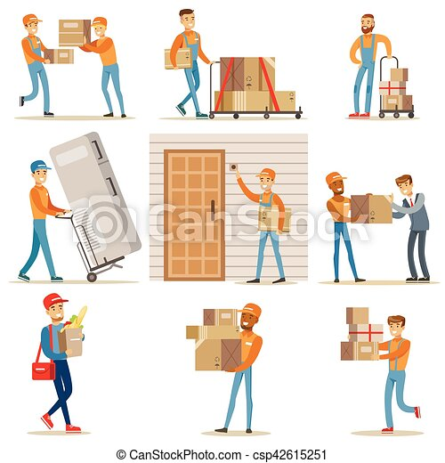 different delivery service workers and clients smiling clipart vector search illustration. Black Bedroom Furniture Sets. Home Design Ideas