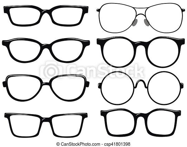 Different design of eyeglasses frames illustration.