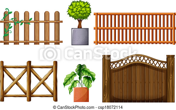 Different Design Of Wooden Fences Illustration Of The Different