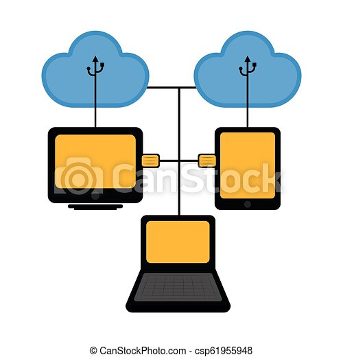 Different devices connected to cloud technology - csp61955948