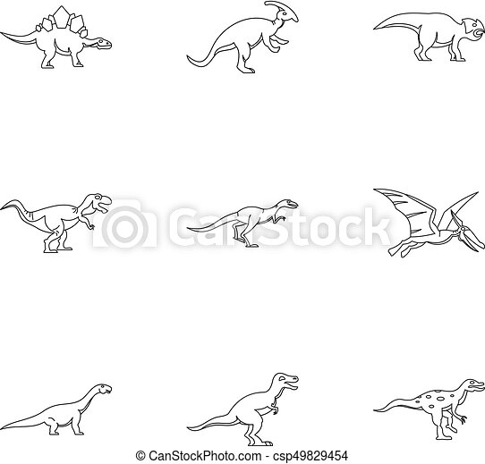 Different Dinosaur Icons Set Outline Style Different Dinosaur