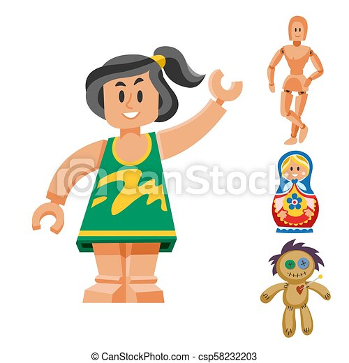 Different dolls toy character game dress and farm scarecrow rag-doll vector illustration - csp58232203