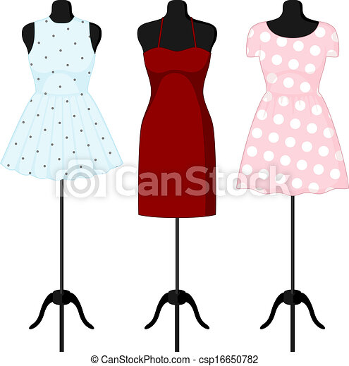 Different dresses on a mannequin. Vector - csp16650782