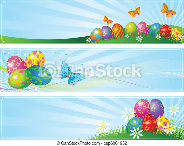Different Easter banners - csp6001952