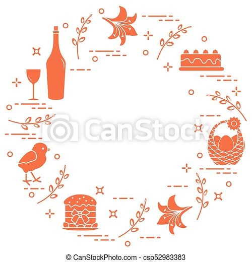 Different Easter symbols arranged in a circle: simnel cake, chick, lily, baskets, eggs and other. - csp52983383
