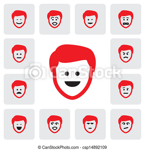 different emotions & feelings of young man's face- vector graphic. This illustration  represents feelings of being sad, happy,in depression,fear,worry, surprised,confident,doubtful,naughty,cheerful - csp14892109