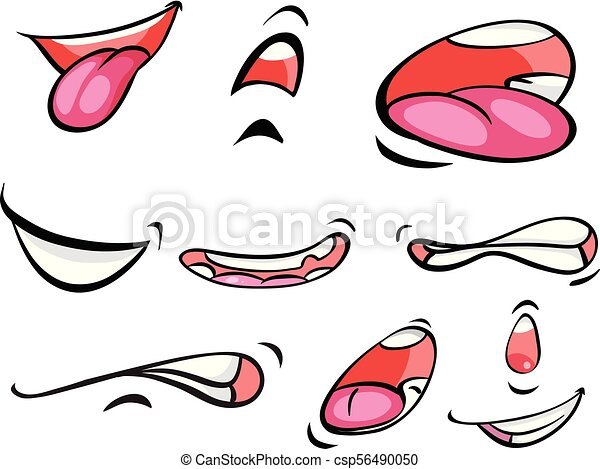 different expressions on mounth illustration