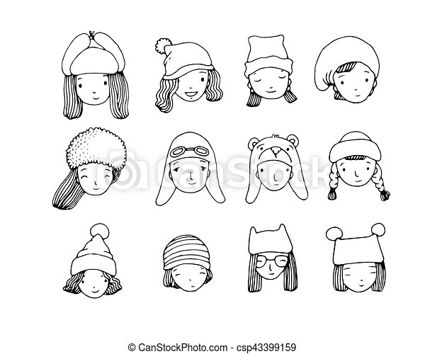 3ff589c4bc3 Different faces. people in winter hats. hand drawing isolated objects on white  background. vector illustration.