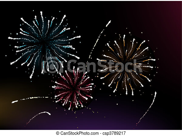vector illustration of different fireworks lighting up the sky in black background great for celebration and festive works