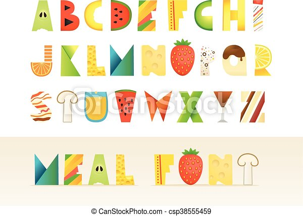 different food colorful creative alphabet isolated letters