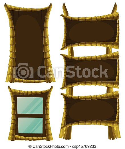 Different frame designs with wood - csp45789233