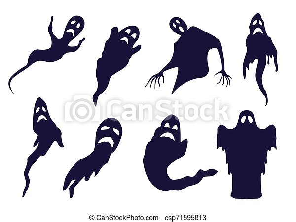 Different Ghosts And Spooks Bw Silhouettes Set Spooky Ghost Silhouettes For Halloween Designs Monochrome Set Of Hand Drawn