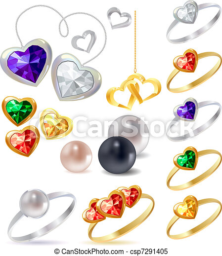 Different gold and silver rings and necklaces with gems - csp7291405