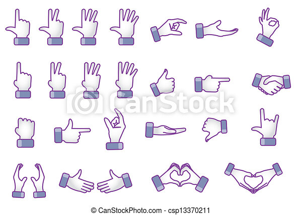 Illustration Concept Of Different Hand Gestures Love Like Best
