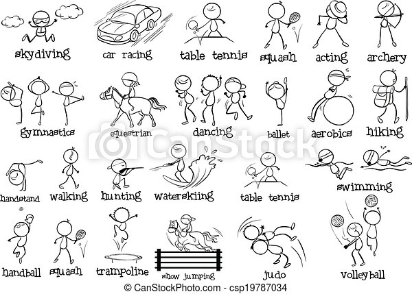 Illustration Of The Different Indoor And Outdoor Sports On A... Vectors - Search Clip Art ...