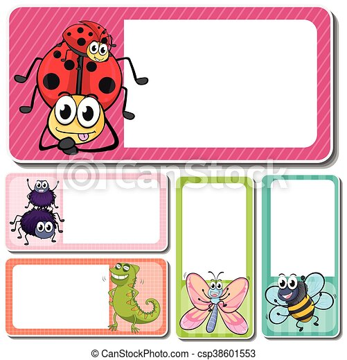 different insects on square labels illustration