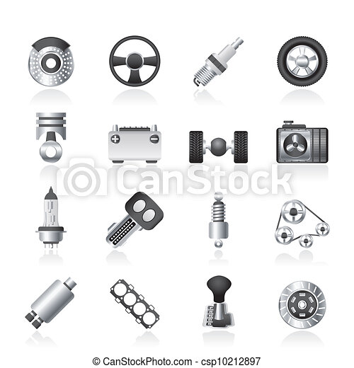 Different kind of car parts icons - vector icon set.