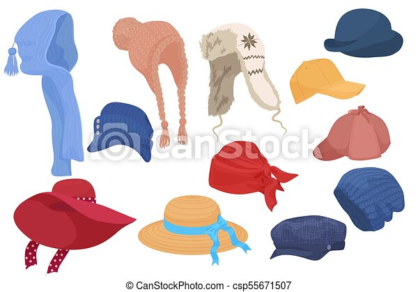 Different kind of cartoon hats set collection. Different kind of ... 2270b4cd0259