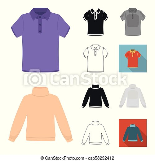 Different kinds of clothes cartoon, black, flat, monochrome, outline icons in set collection for design. Clothes and style vector symbol stock web illustration. - csp58232412