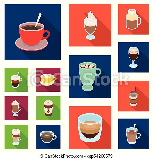 Different Kinds Of Coffee Flat Icons In Set Collection For Design