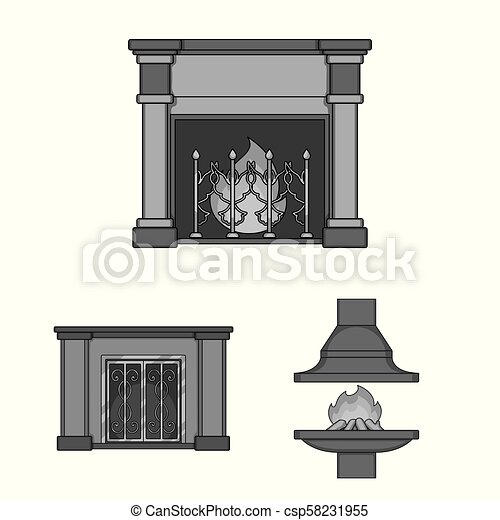 Different kinds of fireplaces monochrome icons in set collection for design. Fireplaces construction vector symbol stock web illustration. - csp58231955