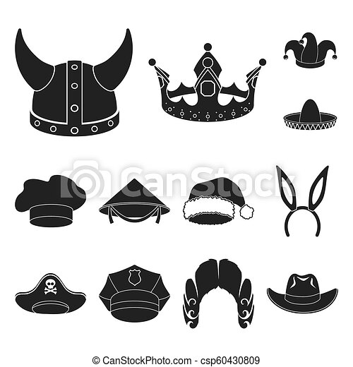 c309f08b2dbcb Different Kinds Of Hats Black Icons In Set Collection For Design.headdress  Bitmap Symbol Stock Web