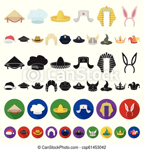 Different Kinds Of Hats Cartoon Icons In Set Collection For Design.headdress  Vector Symbol Stock Web 95598a489872