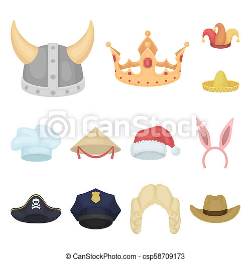 6fa8624ed8c36 Different Kinds Of Hats Cartoon Icons In Set Collection For Design.headdress  Bitmap Symbol Stock Web