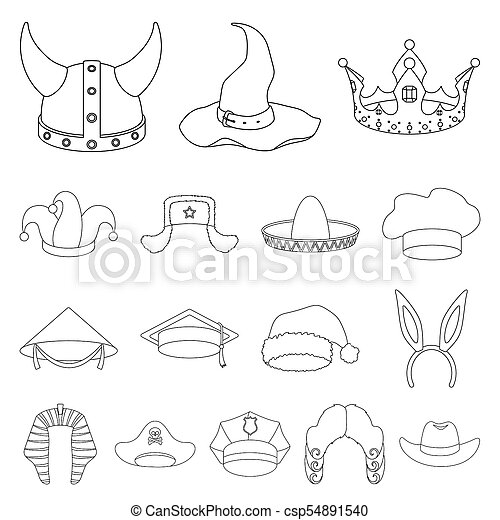 f95c3ab5aaaf5 Different Kinds Of Hats Outline Icons In Set Collection For Design.headdress  Bitmap Symbol Stock Web