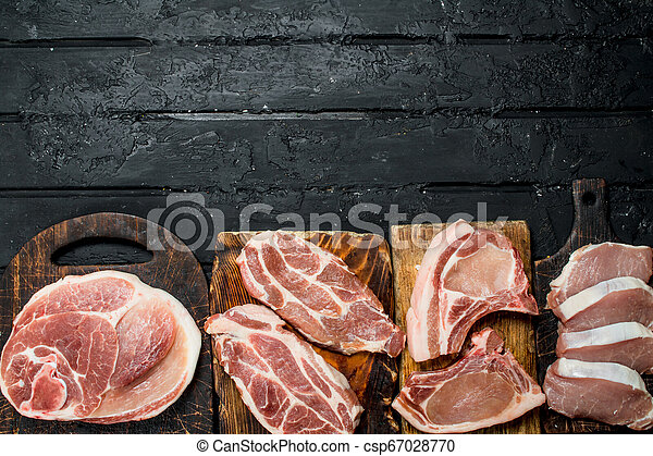 Different kinds of pork meat. - csp67028770