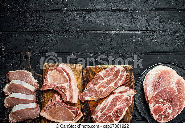 Different kinds of pork meat. - csp67061922