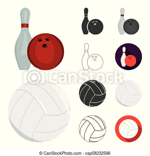 Different kinds of sports cartoon, black, flat, monochrome, outline icons in set collection for design. Sport equipment vector symbol stock web illustration. - csp58232596