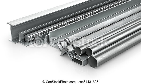 Different metal products. Metal profiles and tubes. 3d illustration - csp54431698