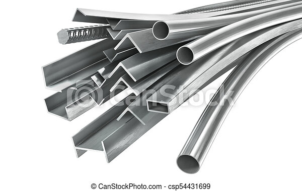 Different metal products. Metal profiles and tubes. 3d illustration - csp54431699