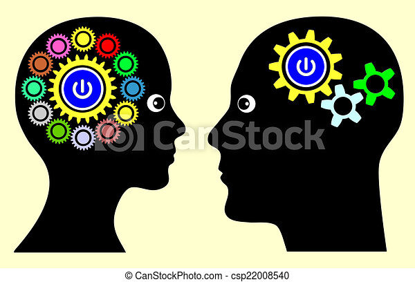 Different mindset. Man and woman with different thinking ...