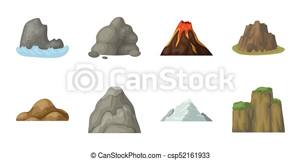 Different mountains icons in set collection for design. Mountains and landscape vector symbol stock web illustration. - csp52161933