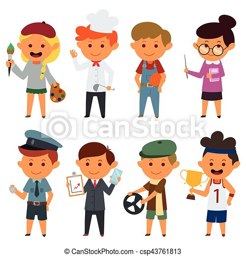 a vector illustration of different people with different jobs rh canstockphoto com job clipart job clip art images