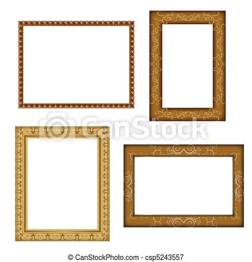 Illustration of different photo frames on white background.