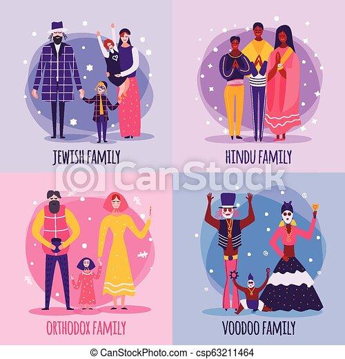 Different Religious People Family Flat Icon Set - csp63211464