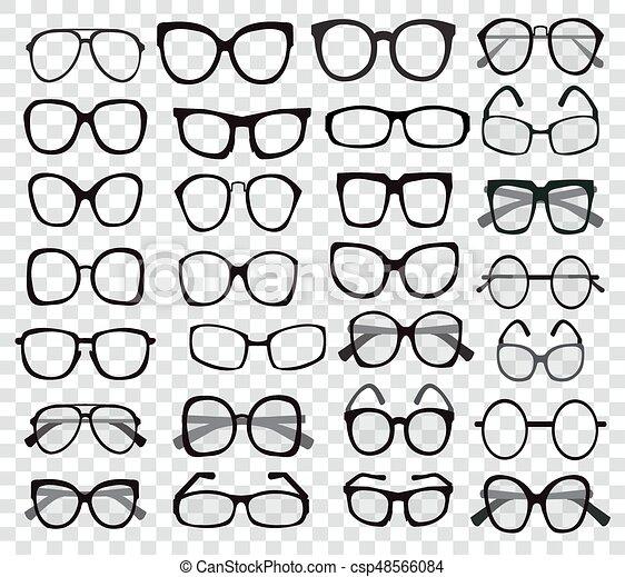Et of custom glasses isolated. glasses model icons. sunglasses ...