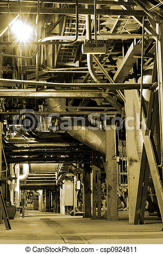 different size and shaped pipes at a power plant - csp0924811