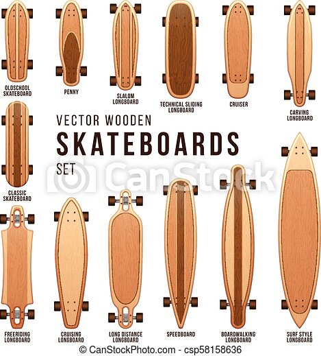 7107cec3c5ea Different skateboard types vector templates set. penny board and ...