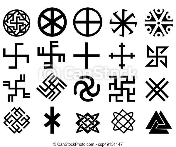 different symbols Different slavic symbols of black color on a white... eps vector ...