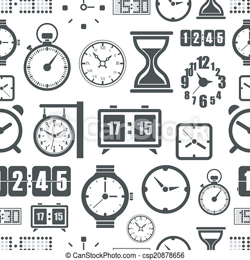 Different slyles of clock seamless background - csp20878656