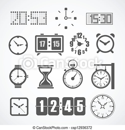 Different slyles of clock vector collection - csp12936372
