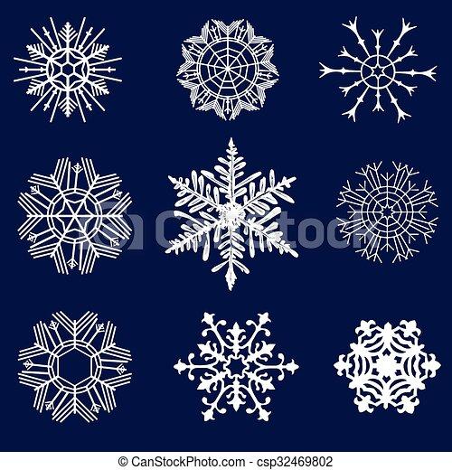 Different snowflakes set - csp32469802